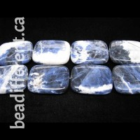 Sodalite Puff Rectangle Beads