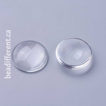 Clear Glass Cabochon 20x5mm