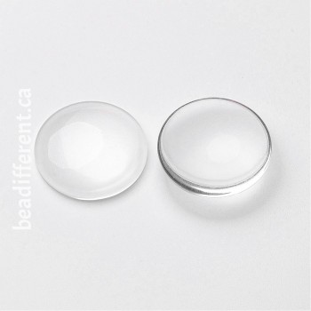 Clear Glass Cabochon 25x6mm