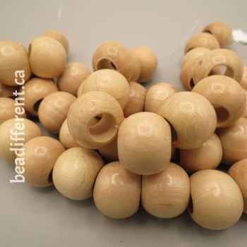 Natural Wood 20mm Round Bead Large Hole