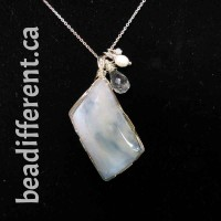 Chalcedony Wire Wrapped Necklace